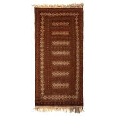 Handwoven Vintage Kilim Brown Beige and Red Traditional Flat-Weave