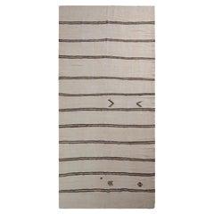 Handwoven Vintage Kilim Rug in Beige-White and Black Stripe Patterns