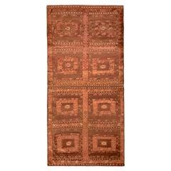 Handwoven Vintage Kilim Rug in Brown and Pink Tribal Geometric Pattern