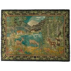 Handwoven Vintage Midcentury Bessarabian Kilim in Green Pictorial Pattern