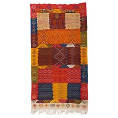 Handwoven Vintage Moroccan Rug in Wool with Organic Multi-Color Dye