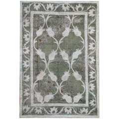 Handwoven Vintage Oriental Turkish Carpets, Green, White, Grey and Black