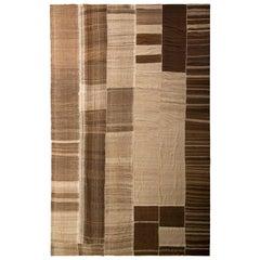 Handwoven Vintage Persian Kilim Rug Flat-Weave in Beige Brown Stripe Patterns