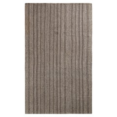 Handwoven Vintage Striped Kilim Rug in Gray, White, and Black