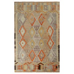 Handwoven Vintage Tribal Kilim Rug in Beige and Blue All Over Geometric Pattern