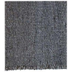 Handwoven Washed Grey Wool Rug, Organic Modern Textured Style, in Stock