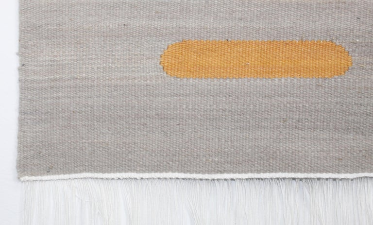 Modern Handwoven Wool Rug / Kilim, Grey, Coral and Sand, Natural Dye, by Andrew Boos For Sale