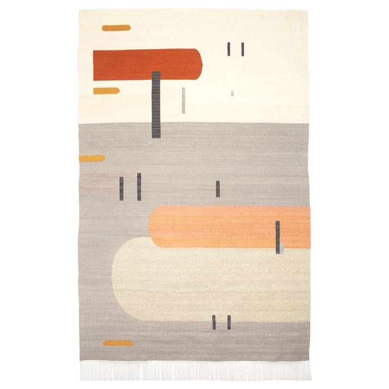 Handwoven Wool Rug / Kilim, Grey, Coral and Sand, Natural Dye, by Andrew Boos For Sale
