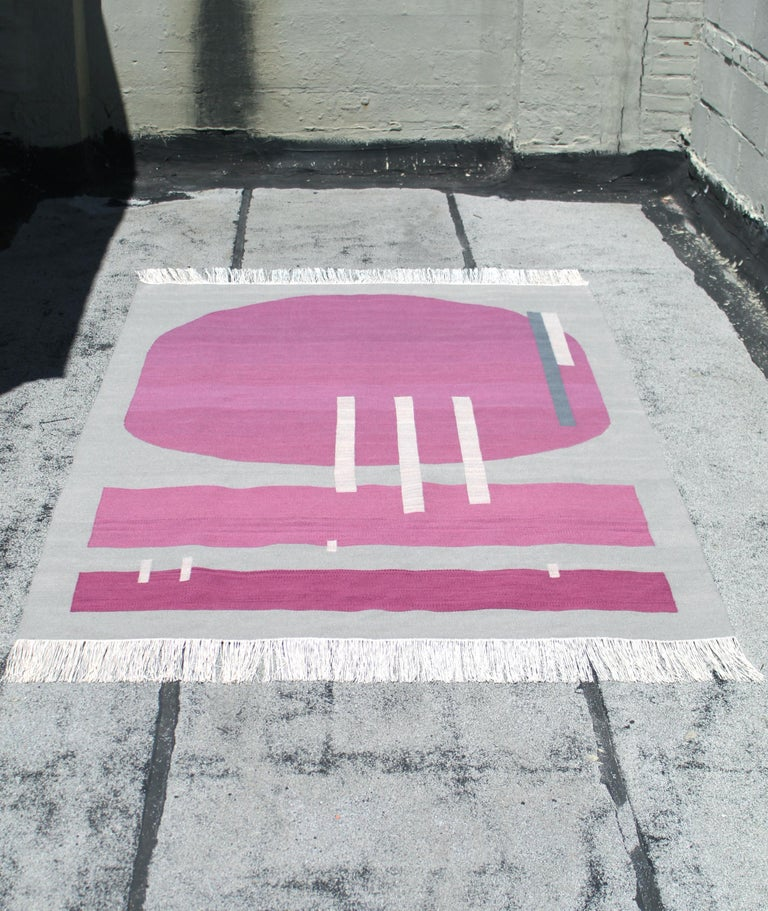 Handwoven Wool Rug / Kilim, Grey & Jewel Tone, Natural Dye, by Andrew Boos For Sale 6