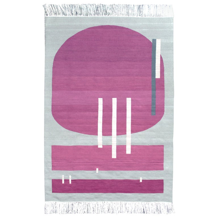 Handwoven Wool Rug / Kilim, Grey & Jewel Tone, Natural Dye, by Andrew Boos For Sale