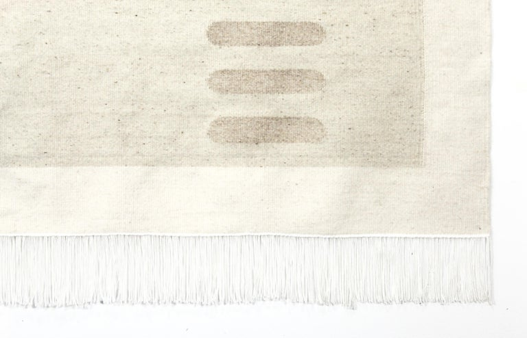 Modern Handwoven Wool Rug / Kilim, Natural and Bleached Wool, by Andrew Boos For Sale