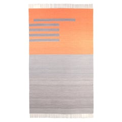 Handwoven Wool Rug / Kilim, Natural Dye, Grey and Terracotta