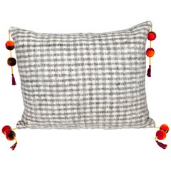Handwoven Wool Throw Pillow in Checkered Pattern with Colored Tassels, in Stock