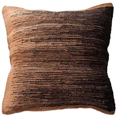 Handwoven Wool Throw Pillow in Chocolate from Argentina, in Stock