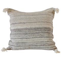 Handwoven Wool Throw Pillow in Natural from Argentina, in Stock