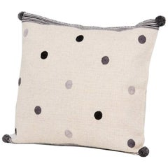 Handwoven Wool Throw Pillow in Natural with Grey Dots, in Stock
