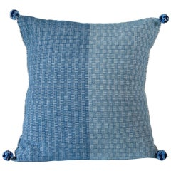 Handwoven Wool Throw Pillow Made with Natural Indigo, in Stock