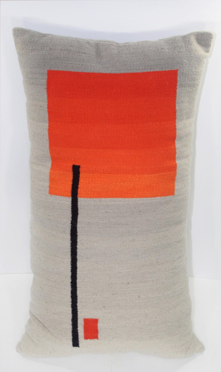 Bespoke Handwoven Wool Throw Pillow, Natural Dye, Red, Orange and Grey For Sale 3
