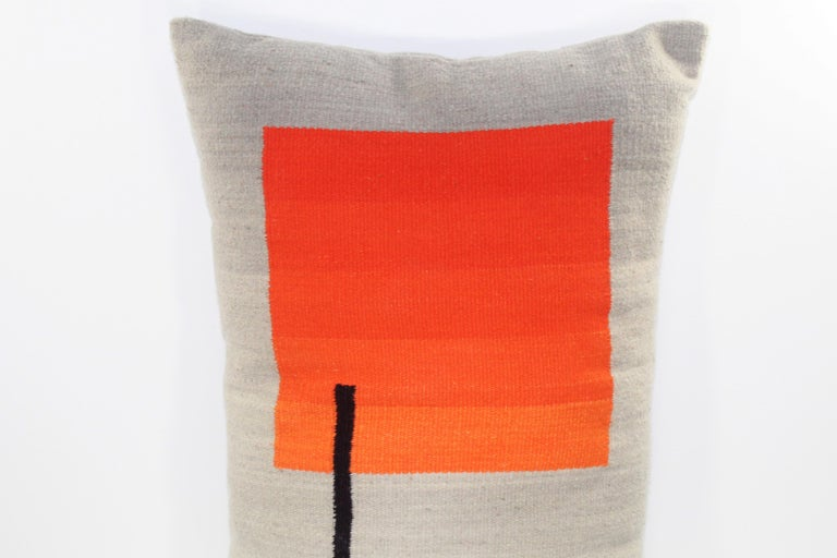 Bespoke Handwoven Wool Throw Pillow, Natural Dye, Red, Orange and Grey For Sale 2