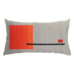 Handwoven Wool Throw Pillow, Natural Dye, Red, Orange and Grey