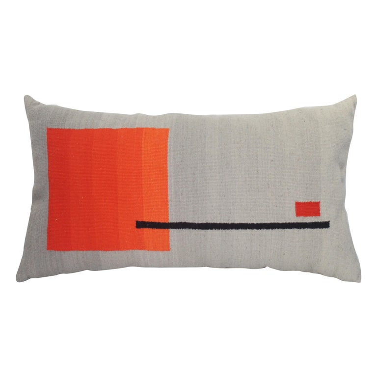 Bespoke Handwoven Wool Throw Pillow, Natural Dye, Red, Orange and Grey For Sale