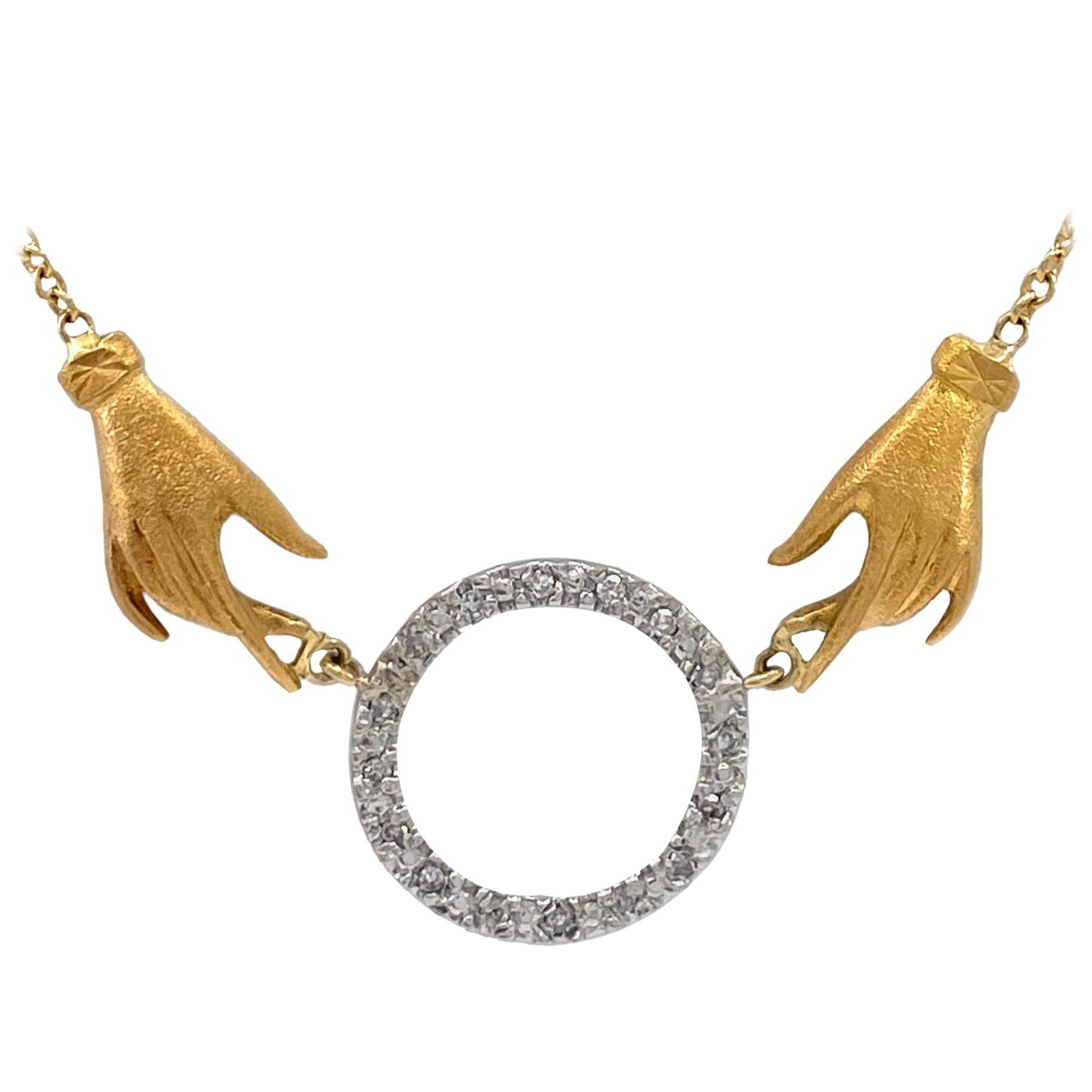 """""""Handy Circle"""" Necklace in 18 Karat Yellow Gold with White Gold and Diamonds"""