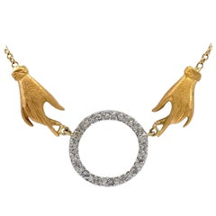 """Handy Circle"" Necklace in 18 Karat Yellow Gold with White Gold and Diamonds"
