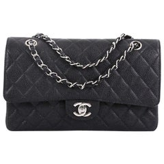 hanel Vintage Classic Double Flap Bag Quilted Caviar Medium