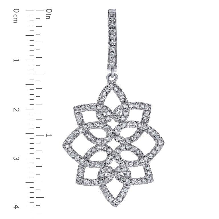 Modern Hanging 1.42 Carat Diamonds Earrings For Sale