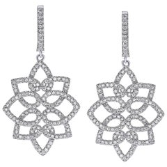 Hanging 1.42 Carat Diamonds Earrings