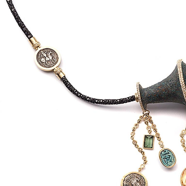 Rose Cut Hanging Antiquities Necklace in 20K Yellow Gold with Diamonds For Sale
