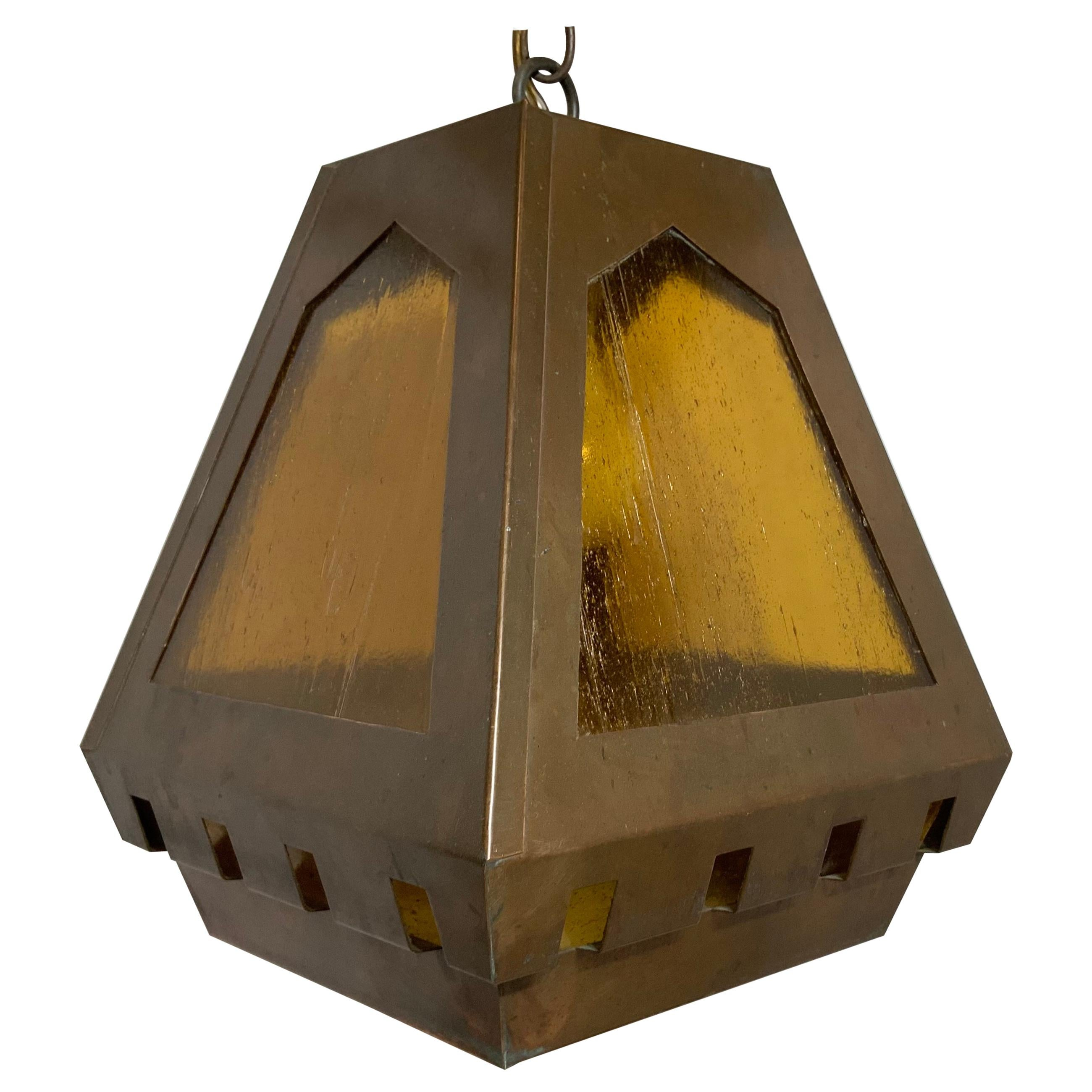 Hanging Art and Craft Style Copper Lantern