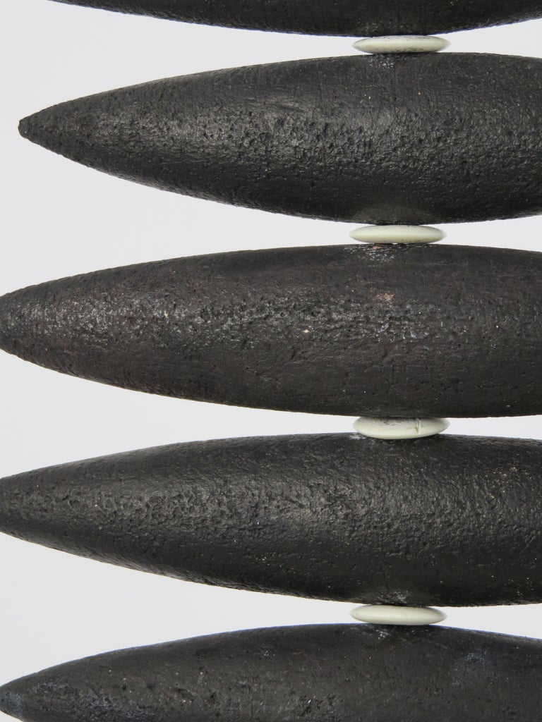 Hanging Black Spine-Like Sculpture, Ceramic and Horn, Hand Built by H. Starcevic For Sale 5