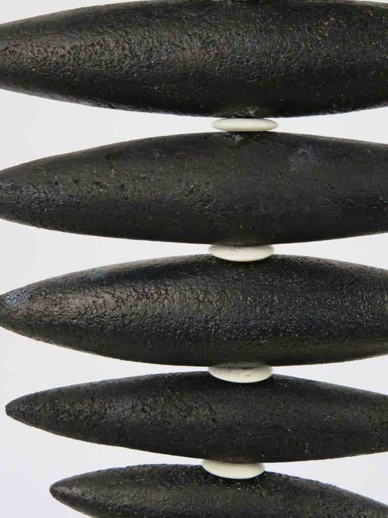 Hanging Black Spine-Like Sculpture, Ceramic and Horn, Hand Built by H. Starcevic For Sale 7