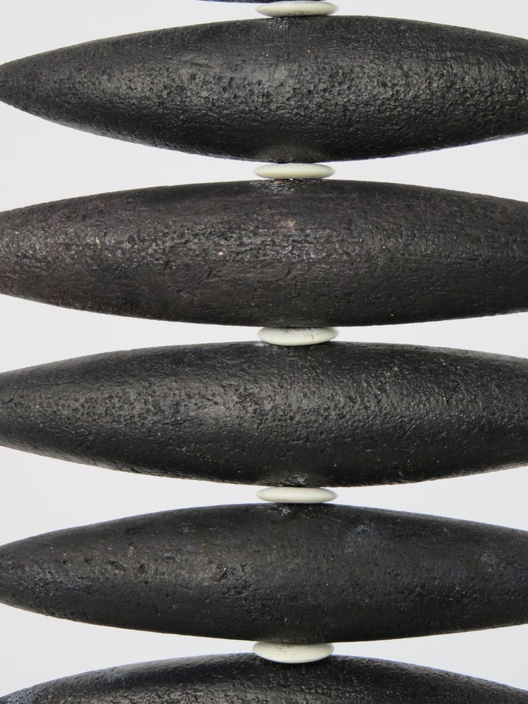Hanging Black Spine-Like Sculpture, Ceramic and Horn, Hand Built by H. Starcevic For Sale 8