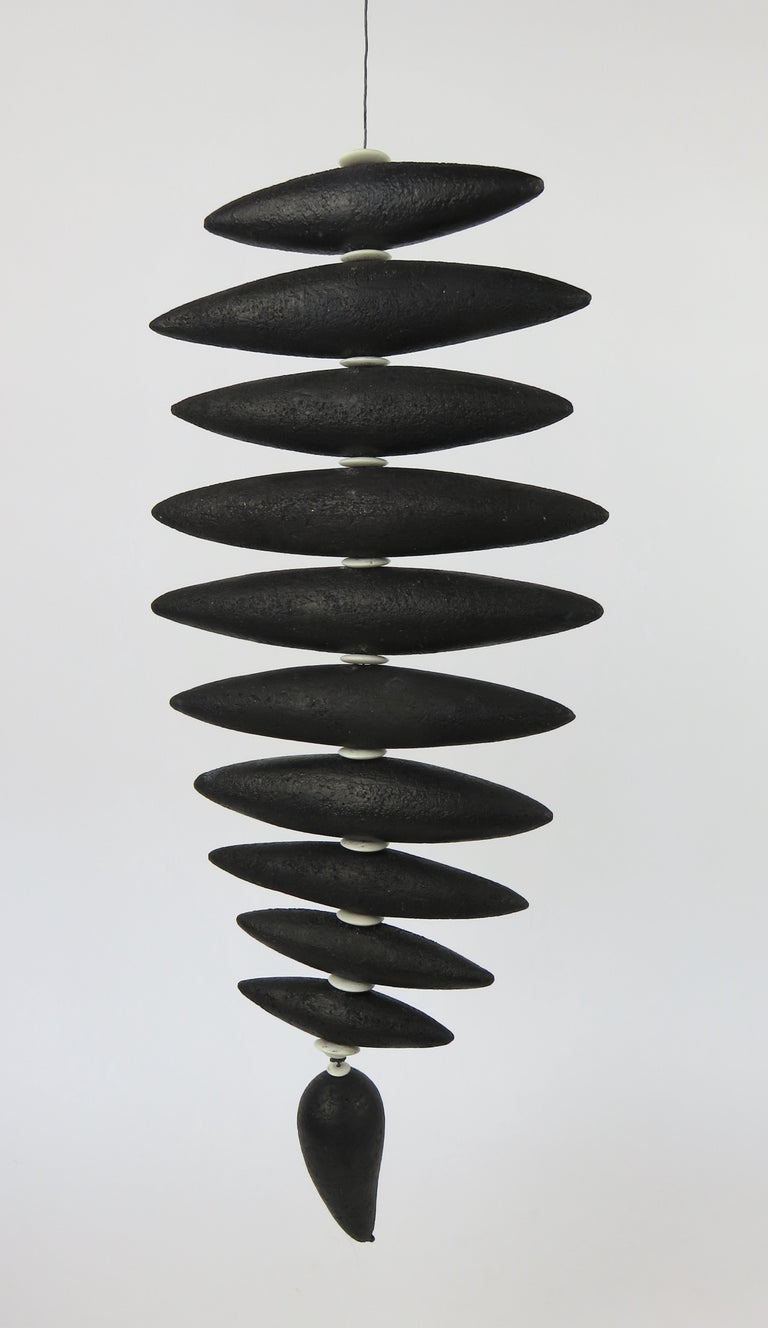 Organic Modern Hanging Black Spine-Like Sculpture, Ceramic and Horn, Hand Built by H. Starcevic For Sale
