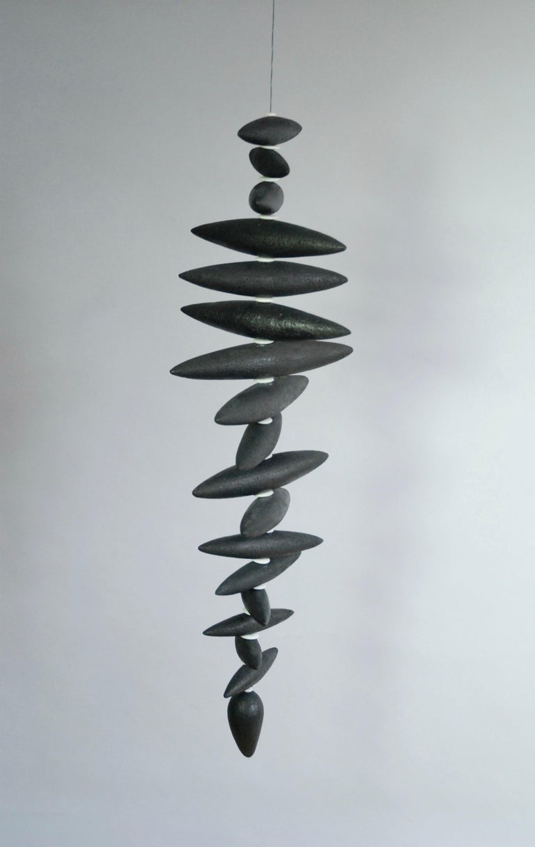 Hanging Black Spine-Like Sculpture, Ceramic and Horn, Hand Built by H. Starcevic In New Condition For Sale In New York, NY
