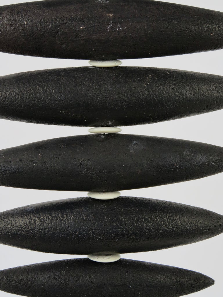 Hanging Black Spine-Like Sculpture, Ceramic and Horn, Hand Built by H. Starcevic For Sale 1