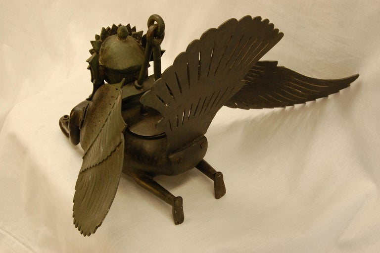 Unknown Hanging Bronze Winged Garuda Incense Burner, circa Late 19th Century For Sale