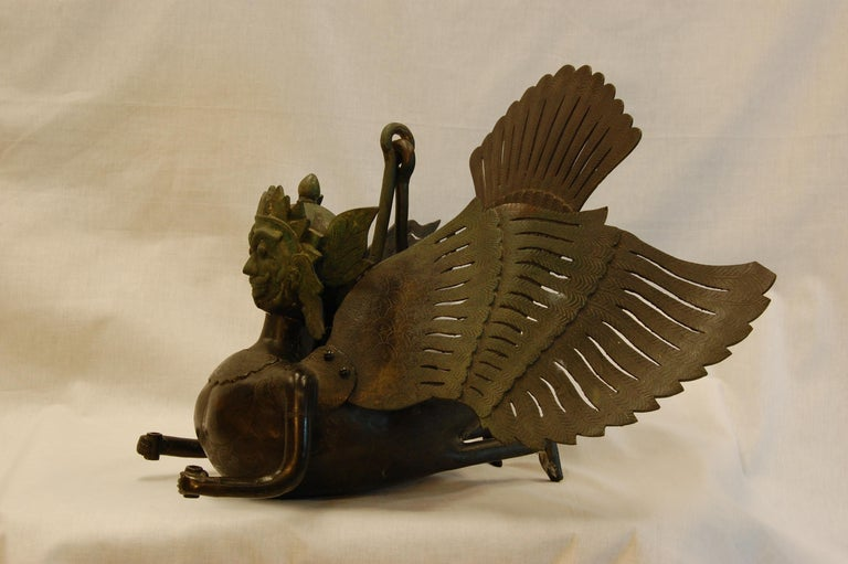 Hanging Bronze Winged Garuda Incense Burner, circa Late 19th Century In Excellent Condition For Sale In Pittsburgh, PA