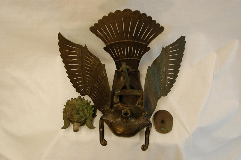 Hanging Bronze Winged Garuda Incense Burner, circa Late 19th Century For Sale 2