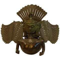 Hanging Bronze Winged Garuda Incense Burner, circa Late 19th Century