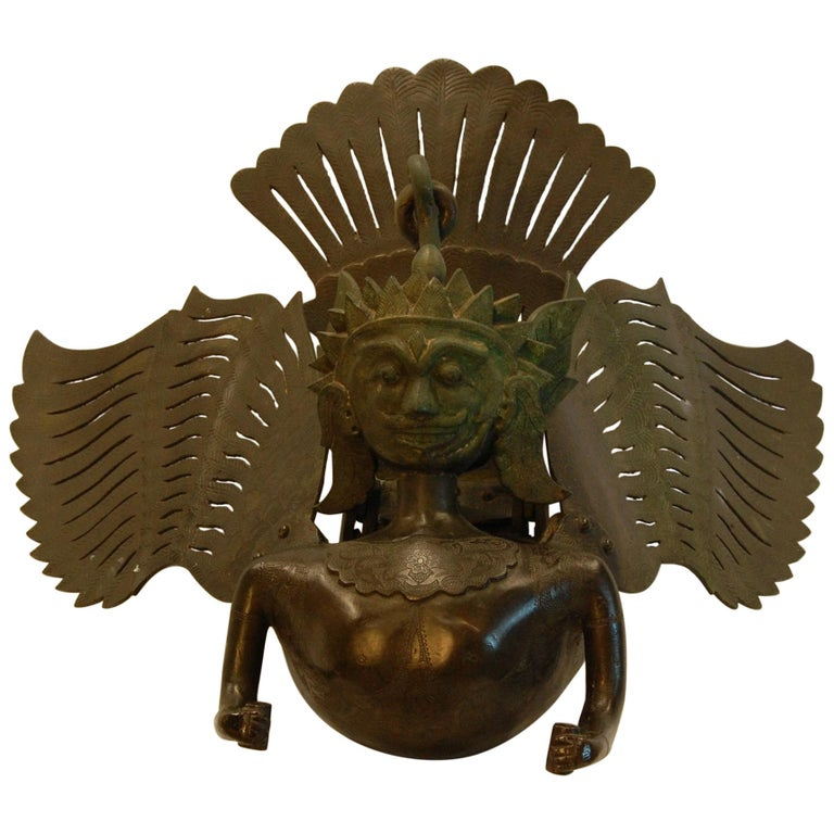 Hanging Bronze Winged Garuda Incense Burner, circa Late 19th Century For Sale