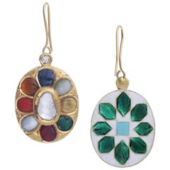Hanging Earrings with Lucky Nine Gems Handcrafted in 22k Gold with Enamel Work