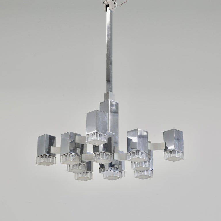 Early nickel plated ceiling light designed by Gaetano Sciolari, Italy, SCIOLARI, 1960s.  The CUBIC ceiling lamp with 12 light fittings, nickel-plated frame, plexiglass diffusers, designed and produced by Sciolari.  While the company