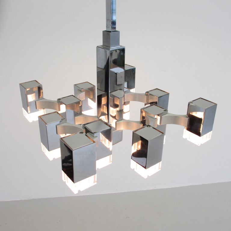 Mid-Century Modern Hanging Lamp by Gaetano Sciolari '12 Lights', 1960s For Sale
