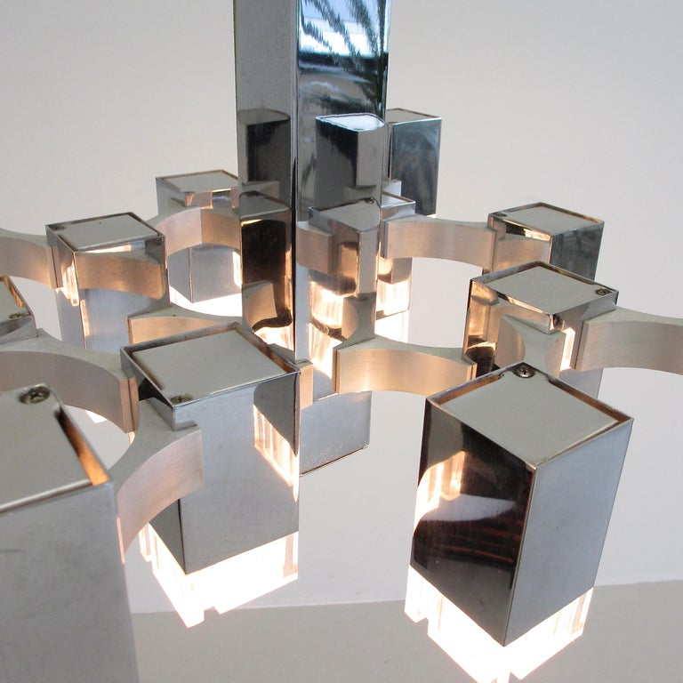Plated Hanging Lamp by Gaetano Sciolari '12 Lights', 1960s For Sale