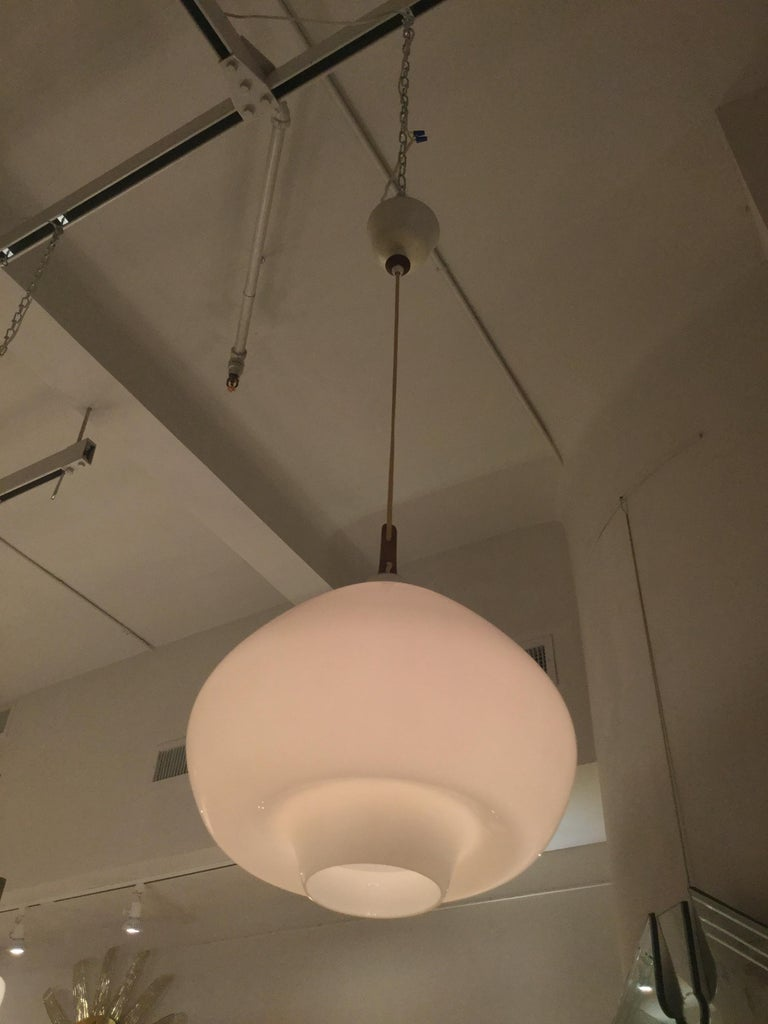 Swedish Hanging Light featuring Wood Details by Hans-Agne Jakobsson, Sweden, 1960s For Sale