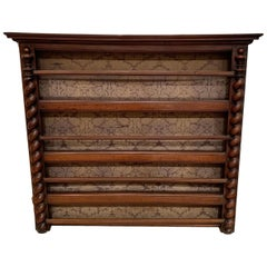 Hanging Plate Rack, Walnut, with Barley Twist Columns, French, circa 1870