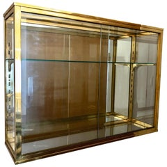 Hanging Wall Vitrine for Collection Objects in Brass, France, 1940s